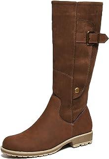 Gracosy 女式及膝高筒靴,手工麂皮冬季防滑中筒短靴保暖毛皮衬里侧拉链块平底雪地靴