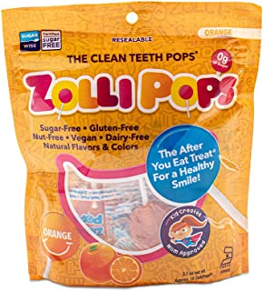 Zollipops 清潔牙齒棒棒糖| 木糖醇抗蛀牙,無糖糖果,帶給您健康的笑容-非常適合兒童,和生酮飲食者(橙子,3.1盎司/約87.88克)