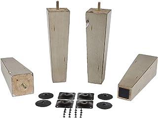 ProFurniture零件 古灰色 22.86 厘米高锥木沙发腿带防滑垫,含支脚盘,4 件套