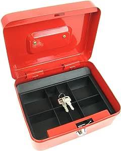 Stalwart 75-6580 Hawk 8 英寸钥匙扣红色现金盒带硬币托盘