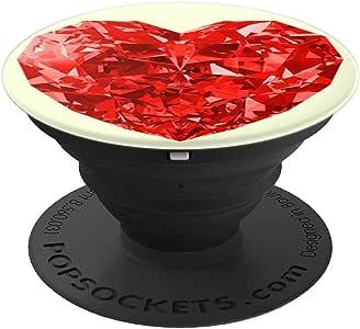 可爱心形钻石印花闪亮玻璃件形状设计 - PopSockets 手机和平板电脑握架260027  黑色