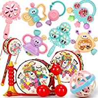 婴儿玩具0-1岁幼儿牙胶摇铃 3-6-12个月新生儿宝宝手摇铃牙胶玩具(颜色随机发货)id=526091193389 (新7+叮当3件套+吉祥5件套)