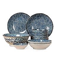 【古染古纹十头套装】日本进口美浓烧陶瓷碗碟盘子创意餐具套装 古染古纹唐草系列汤面碗盘子10头套装