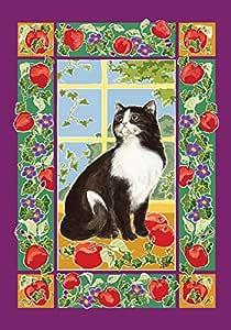 Toland Home Garden Kitchen Kitty 12.5 x 18 Inch Decorative Spring Summer Kitten Cat Apple Blossom Garden Flag