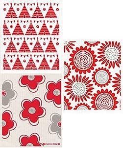 瑞典布料 - 3 件套(FE)红色设计:向日葵+花朵+节日出牙胶玩具