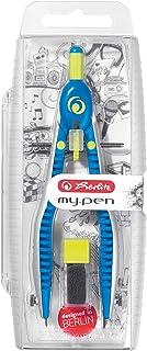 Herlitz 快可调节圆规钢笔带 zusatzminen 和 anspitz 机会 Blau/ Lemon