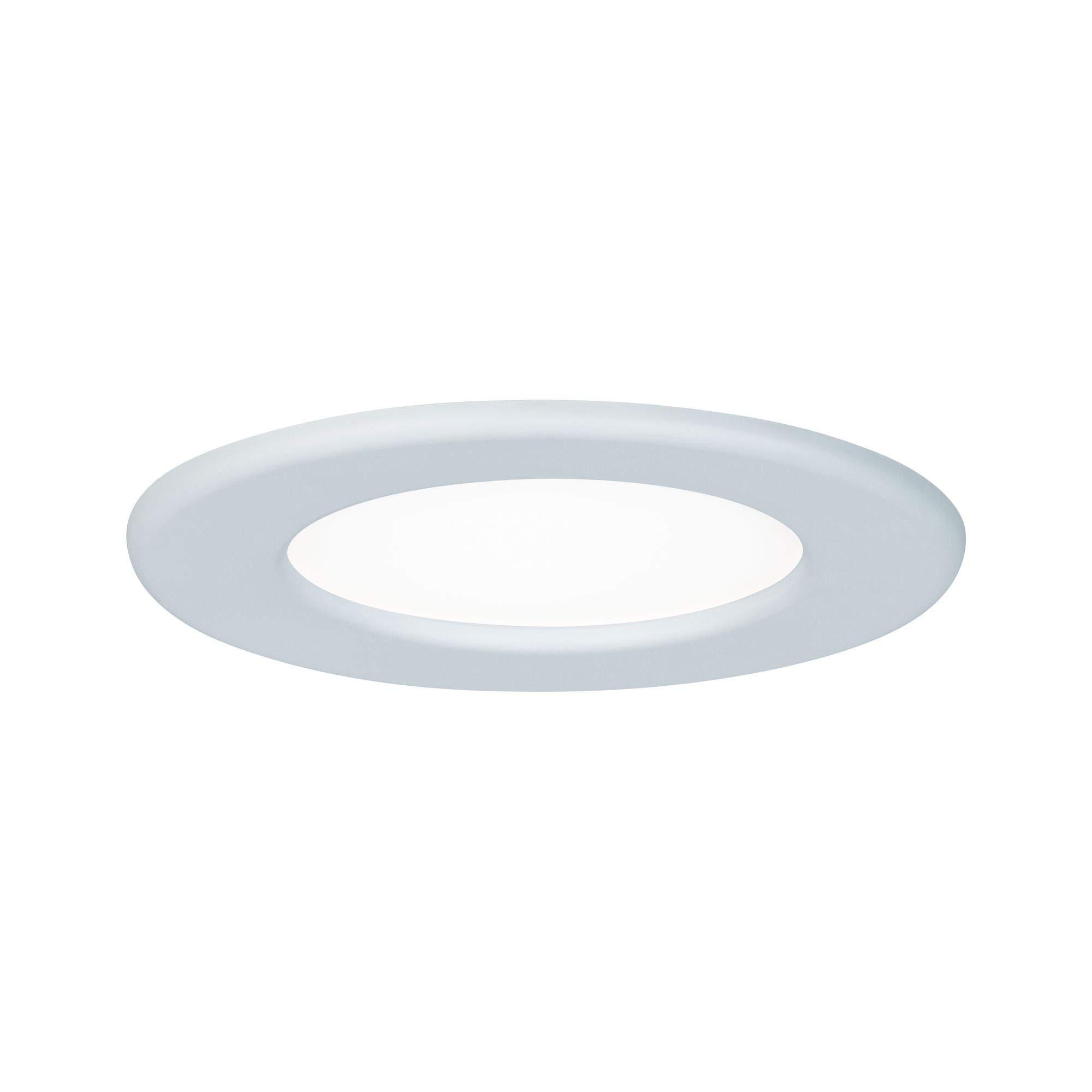 Paulmann 灯具 Paulmann 柏曼 92058 嵌入式面板 圆形吸顶灯 6W 灯 4000K 自然白光 LED 面板 白色 IP44 防溅水 包含灯泡 嵌入式灯 塑料 6 W