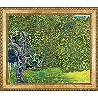 La Pastiche 金色苹果树金属装饰艺术品古斯塔夫·克利姆特创作,带新时代木框架,维罗纳珠和编织框架,73.02 厘米 x 62.88 厘米