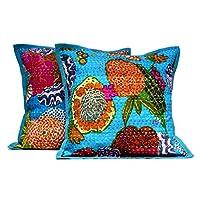 2 蓝色印度手工制作枕套 Kantha 花卉抱枕靠垫套