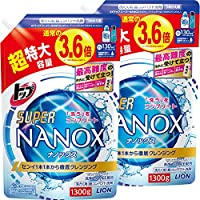 LION 獅王 TOP SUPER NANOX 洗衣液 液體 替換裝 超大 1300g×2個【批量賣 大容量】
