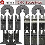 Odyssey Oscillating Multitool 15 刀片装木制塑料锯片白金刀片摆动多工具刀片套装(15 件)