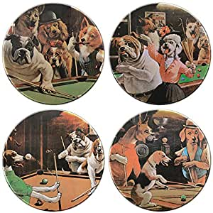 Sterling Gaming Sterling Coaster Dogs Playing Pool 玻璃杯垫套装