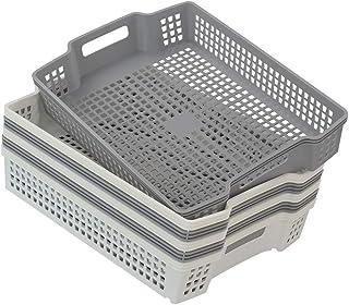 Wekiog 塑料篮托盘,可堆叠文件架,6 件装