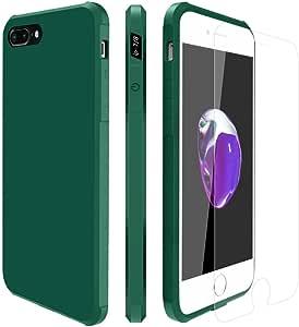 iPhone 7 手机壳,iPhone 8 手机壳带屏幕保护膜双层保护 TPU 亚光触摸屏保护套适用于 Apple iPhone 7/8 5.5 Inch 深绿色