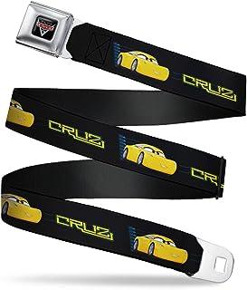 Buckle-Down 男式*带儿童皮带,Cruz 车型黑色/蓝色/黄色,1.0 英寸宽-20-36 英寸