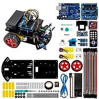 Hosyond 智能机器人汽车套件,2WD 遥控车兼容 Arduino IDE 带拖尾