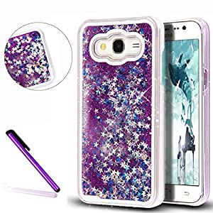 G360 手机壳,Galaxy Core Prime 手机壳 LEECOCO 360 度*保护壳闪闪闪发光防刮柔软透明 TPU 硅胶保护套适用于三星 Galaxy Core Prime G360 [S] Purple
