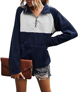 女式纽扣领绗缝套头运动衫拼接肘部补丁上衣外套 羊毛*蓝 Small
