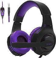 Anivia AH68 有線麥克風游戲耳機,柔軟舒適皮革,立體聲環繞,頭戴式游戲耳機,適用于 PC/MAC / PS4