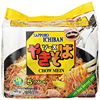 Sapporo Ichiban Chow Mein Yakisoba, 5 Count, 18 Ounce (Pack of 6)