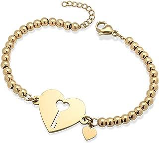 555Jewelry 女士不锈钢爱心可爱心形锁钥匙坠饰环手链