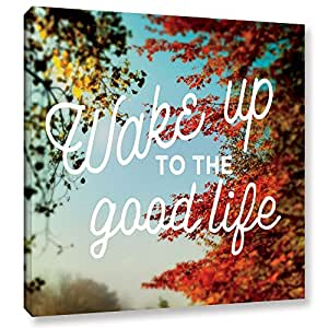 """ArtWall 2sch053a1818w Sue Schlabach's Wake Up to the Good Life Gallery Wrapped Canvas Artwork, 18"""" x 18"""""""
