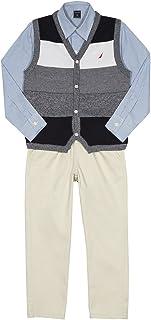 Nautica 男童 3 件套,带针织衬衫、毛衣和裤子