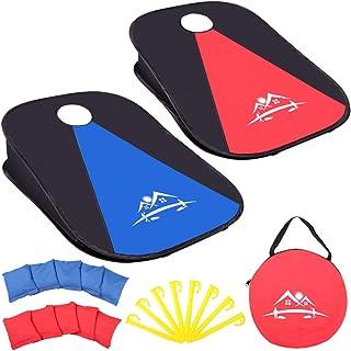 便携式可折叠沙包游戏弹跳豆袋投掷游戏带10个豆袋,适合儿童成人家庭,沙包板套装户外室内带旅行手提箱,适用于后院草坪海滩(3 x 2 英尺)
