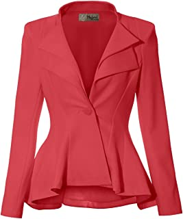 HyBrid & Company 女式双缺口翻领垫肩式办公室西装外套  珊瑚色考究,优质重量 Medium