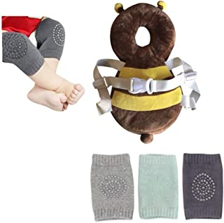 婴儿头部保护和婴儿膝盖垫 3 双装,适合婴儿爬行和散步,年龄 5 至 24 个月,可调节*垫垫背包 14 英寸,小动物毛绒玩具棕色 - 蜜蜂