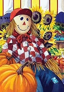 Toland Home Garden Fall Farm Stand 12.5 x 18 Inch Decorative Autumn Harvest Market Scarecrow Pumpkin Garden Flag