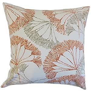 "The Pillow Collection Grove Floral 欧式枕套深红色 ""Multi"" Standard/20"" x 26"" STD-D-ZENZO-PERSIMMON-C100"