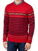 Tommy Hilfiger Mens Dominick Fair Island Striped Pullover Sweater