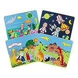 Sprogs- 4 个毛毡故事板 w/ 储物袋 - 潜水、恐龙、动物园动物、外太空