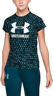 Under Armour 女童大徽标 T 恤新颖短袖衬衫 Tandem Teal (431)/Moonstone Blue 青少年 XS
