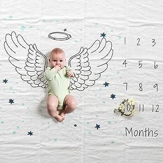 Top Fashion 婴儿男孩女孩月里程碑毛毯 I 棉质平纹细布襁褓 I 婴儿年龄毛毯 I 新生儿成长毯 用于照片图片 120 X 150 厘米 翅膀 milestone5-2
