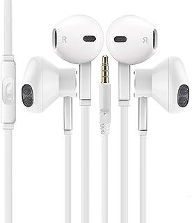 Phax [2 Pack] 带麦克风高级耳塞立体声耳机和隔音耳机,适用于苹果 iPhone iPod iPad、Samsung Galaxy LG HT(白色)