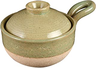 长谷制陶 土锅 绿 800ml 长谷园 粥锅 *(1-2人用) NCK-78