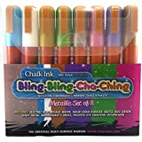 粉笔 6mm Bling-Bling Cha Ching 湿巾马克笔,8 支装