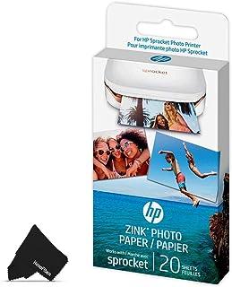HeroFiber 1 包 HP 链轮相片纸,共 20 张粘性背板,专为 HP 链轮便携式照片打印机(5.08 x 7.62 厘米)+ 超细纤维布