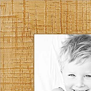 """ArtToFrames 2WOMJ40038-7x8 inch Wood Picture Frame, 7 x 8"""", Distressed Natural Stain on Basswood"""