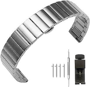 拉丝不锈钢表带金属表带快速释放手链男女 18mm / 20mm / 22mm,黑色或银色 20mm Metal Expansion Silver