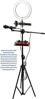VOCOPRO Streamer-Live-USB 音频接口、电容式麦克风、吊杆支架和适合内容创作者的 LED 环灯套装