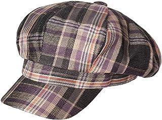 Clecibor 格子图案印花纽带帽网格可调节八角形帽