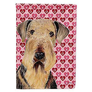 Airedale Hearts Love and Valentine's Day Portrait Flag 多色 小号