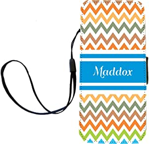 """Rikki Knight""""Maddox"""" Blue Chevron Name Flip Wallet iPhoneCase with Magnetic Flap for iPhone 5/5s -""""Maddox"""" Blue Chevron Name"""