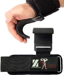 健身举重挂钩把手(一对) - 4 毫米厚软垫氯丁橡胶,双缝线,防滑涂层 - 使用优质健身挂钩手套固定您的握持并达到您的目标