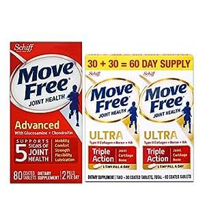 Schiff Move free旭福维骨力氨糖软骨素片红瓶经典版 80粒+白瓶白金版60粒 包税包邮