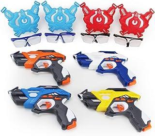 Boley 激光标签 12 件游戏套装 - 两组游戏套装,带 4 个红外线玩具枪和背心套装和战斗准备谷歌 - 非常适合生日派对和家庭娱乐!