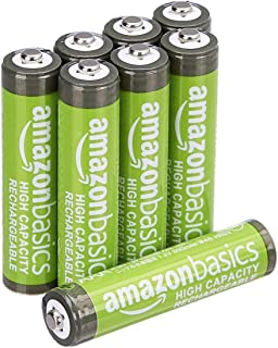 AmazonBasics 亞馬遜倍思 預充電鎳氫電池,500循環(典型2500mAh,*小2400mAh),(外罩可能與顯示有所不同)HR-4UTHA-AMZN (8P)  Batterien AAA, 8 Stück